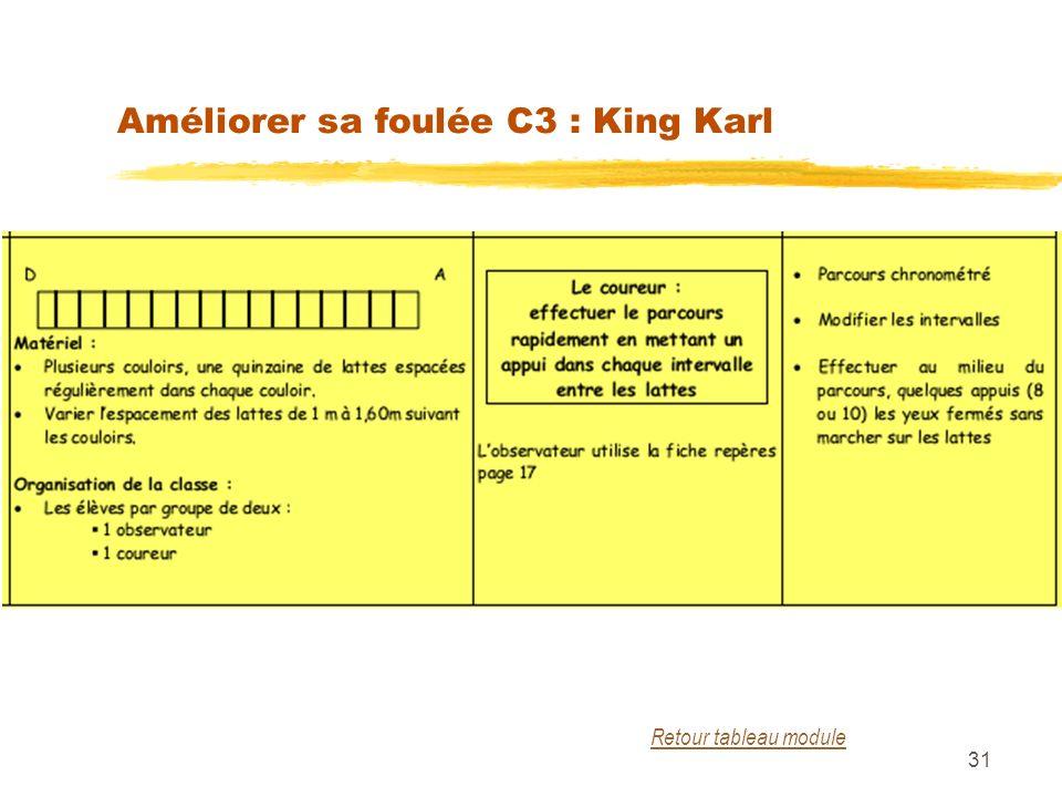 Améliorer sa foulée C3 : King Karl