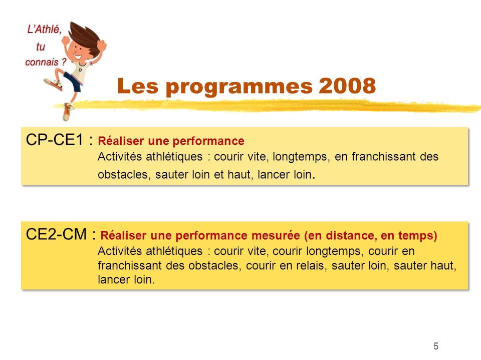 Les programmes 2008 CP-CE1 : Réaliser une performance