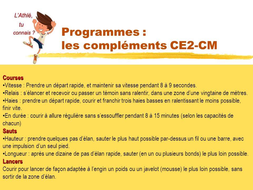 Programmes : les compléments CE2-CM Courses