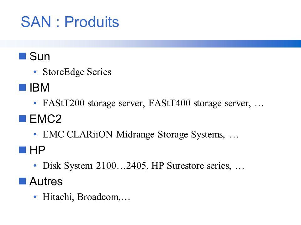 SAN : Produits Sun IBM EMC2 HP Autres StoreEdge Series