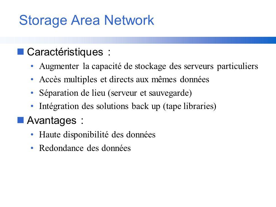 Storage Area Network Caractéristiques : Avantages :