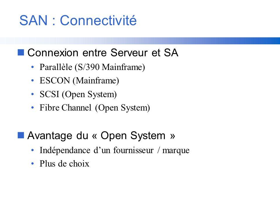 SAN : Connectivité Connexion entre Serveur et SA