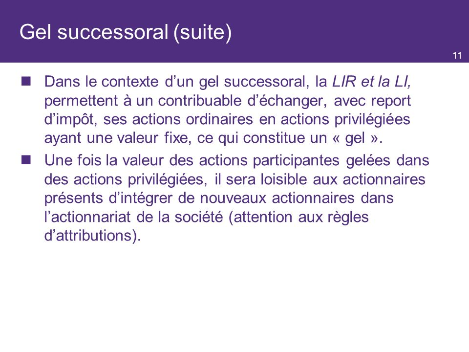 Gel successoral (suite)