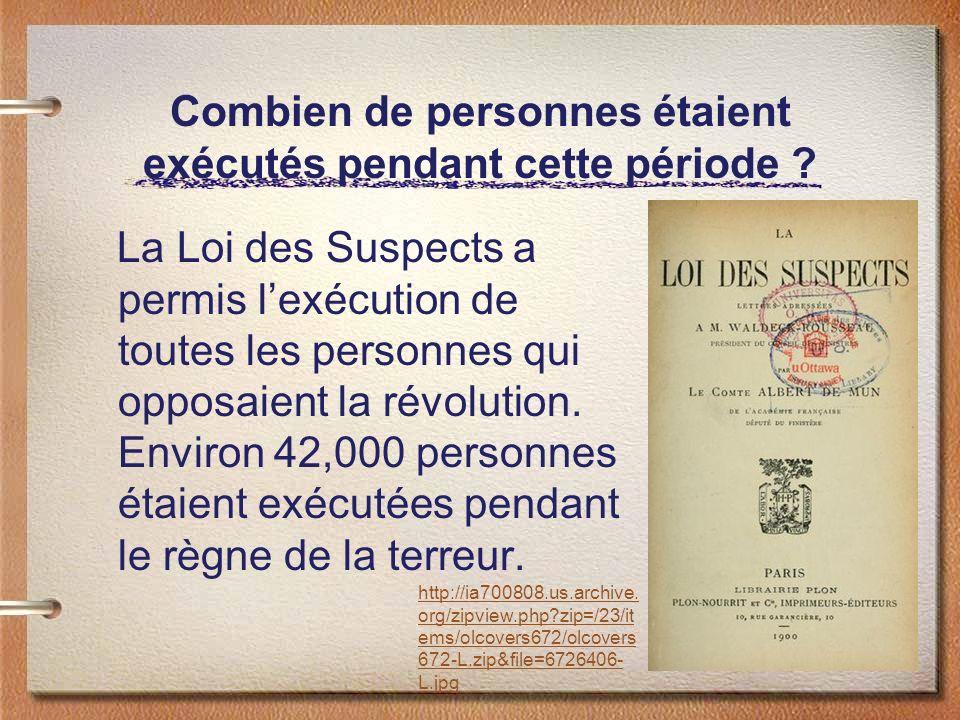 Combien de personnes étaient exécutés pendant cette période