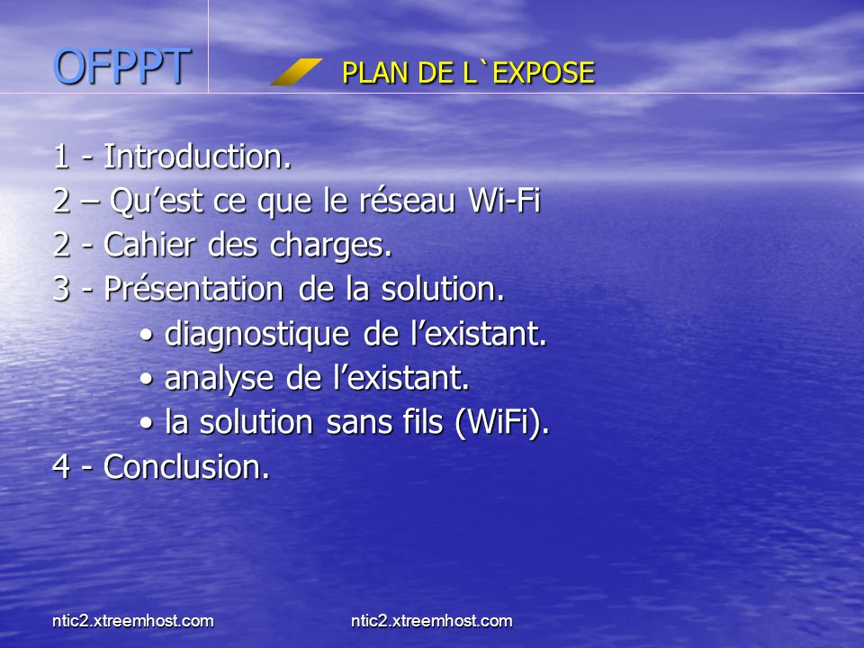 OFPPT PLAN DE L`EXPOSE 1 - Introduction.