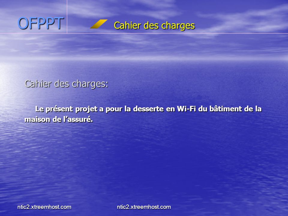 OFPPT Cahier des charges