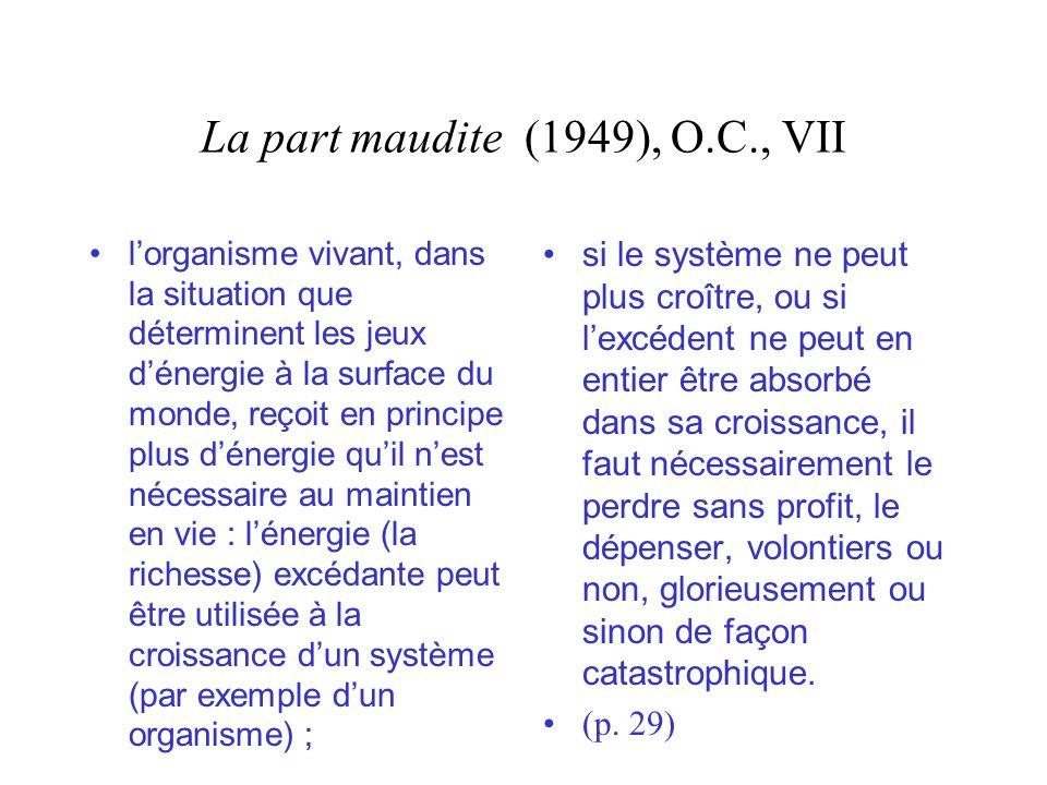 La part maudite (1949), O.C., VII