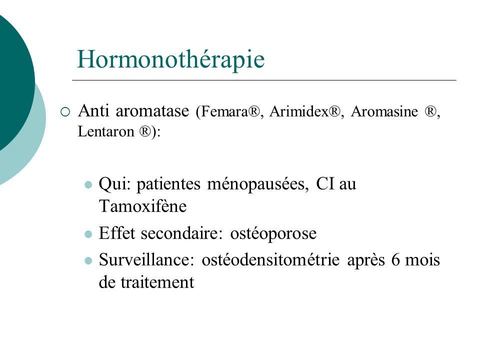 Hormonothérapie Anti aromatase (Femara®, Arimidex®, Aromasine ®, Lentaron ®): Qui: patientes ménopausées, CI au Tamoxifène.