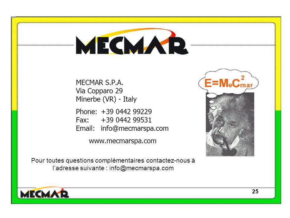 Pour toutes questions complémentaires contactez-nous à l'adresse suivante : info@mecmarspa.com