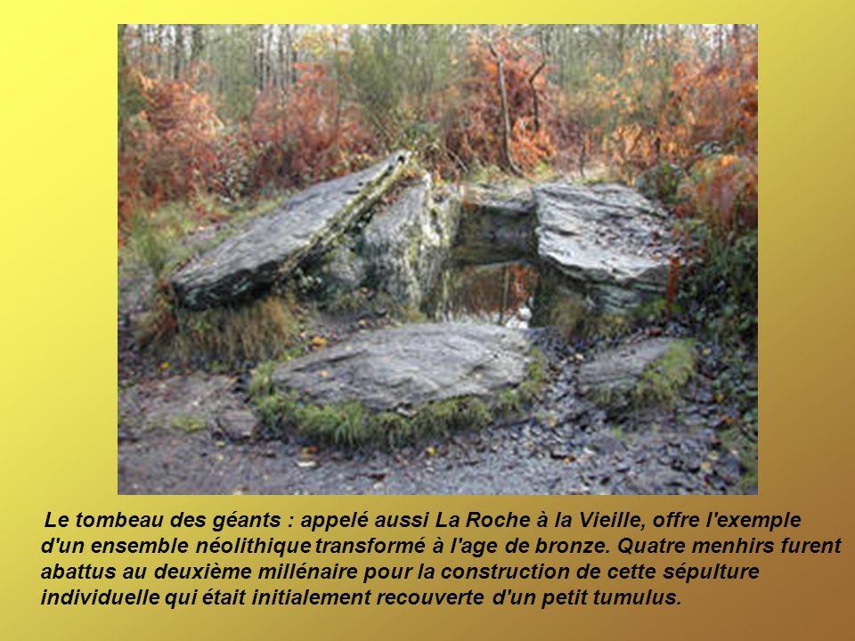Le tombeau des géants : appelé aussi La Roche à la Vieille, offre l exemple d un ensemble néolithique transformé à l age de bronze.