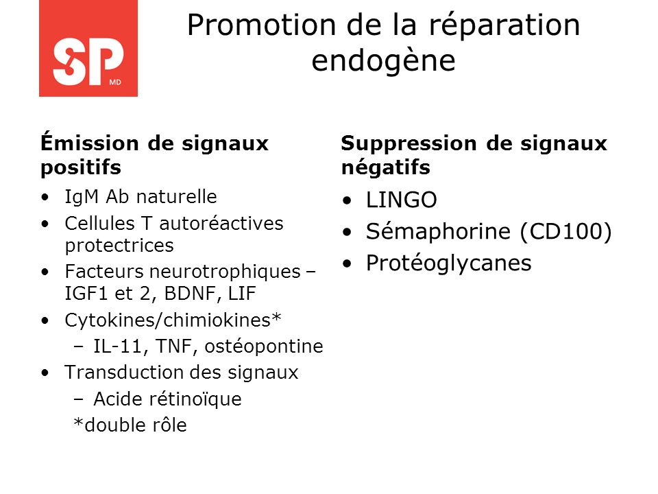 Promotion de la réparation endogène