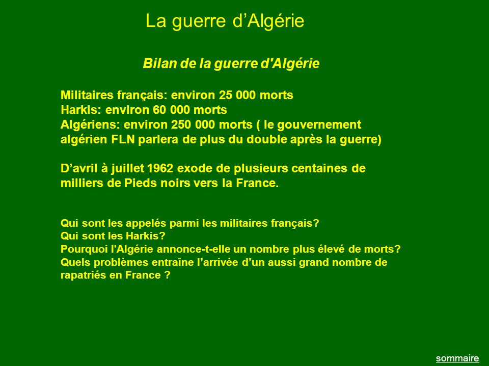 Bilan de la guerre d Algérie