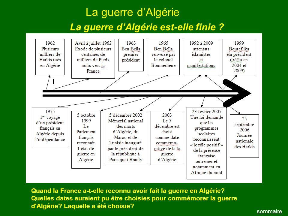 La guerre d'Algérie La guerre d'Algérie est-elle finie