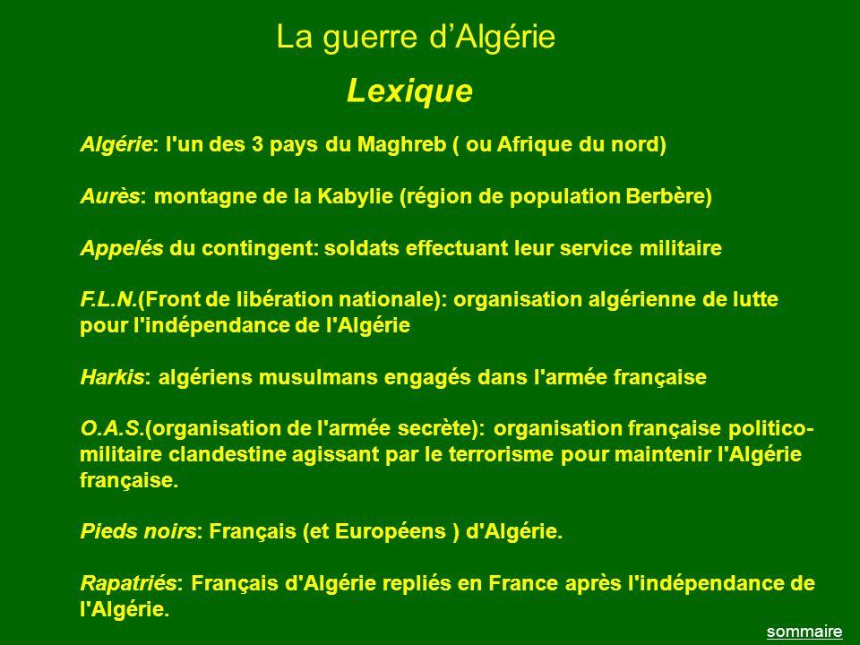 La guerre d'Algérie Lexique