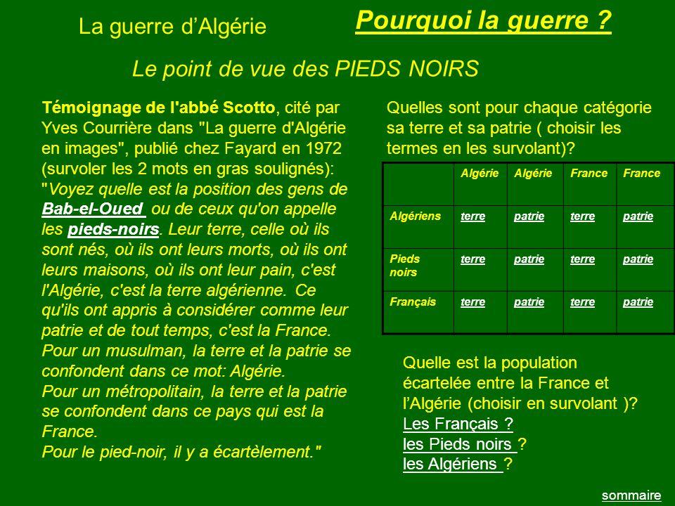 Pourquoi la guerre La guerre d'Algérie
