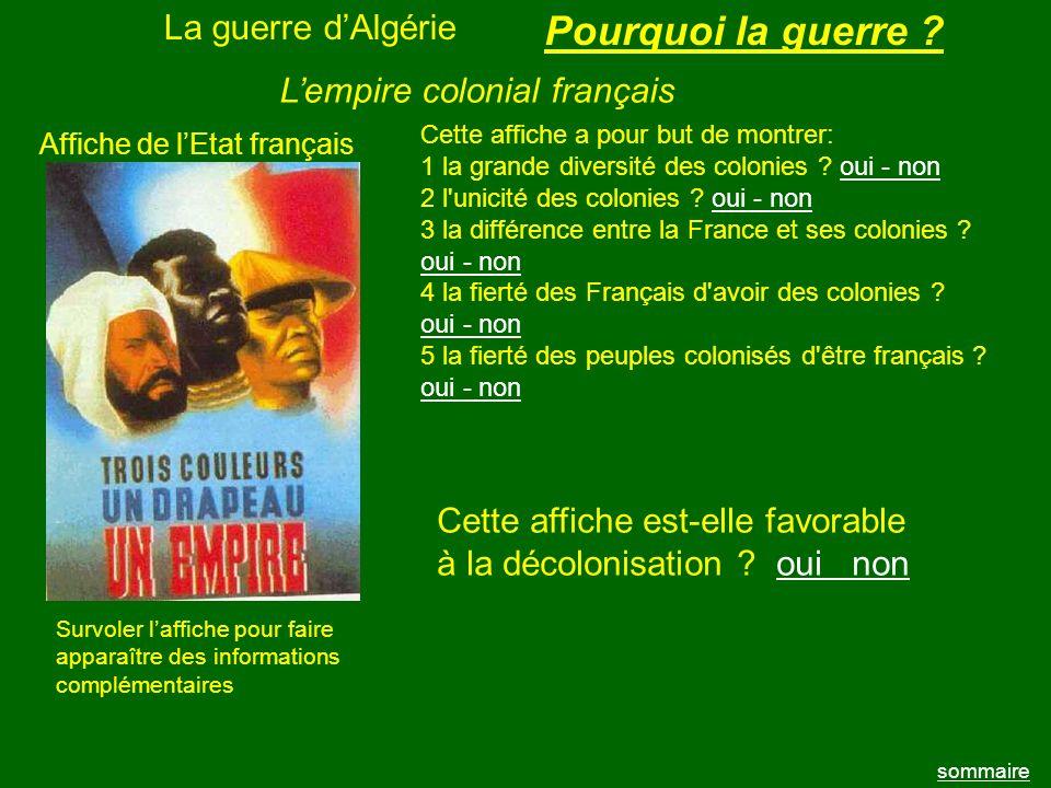 Pourquoi la guerre La guerre d'Algérie L'empire colonial français
