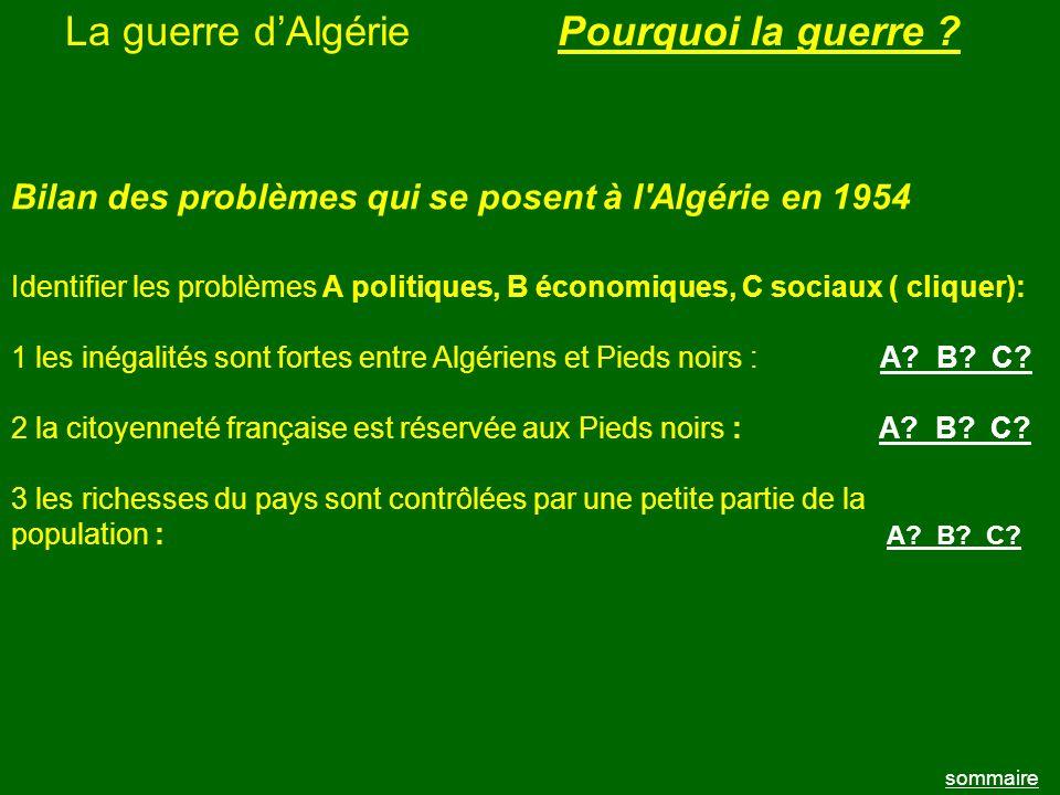 La guerre d'Algérie Pourquoi la guerre