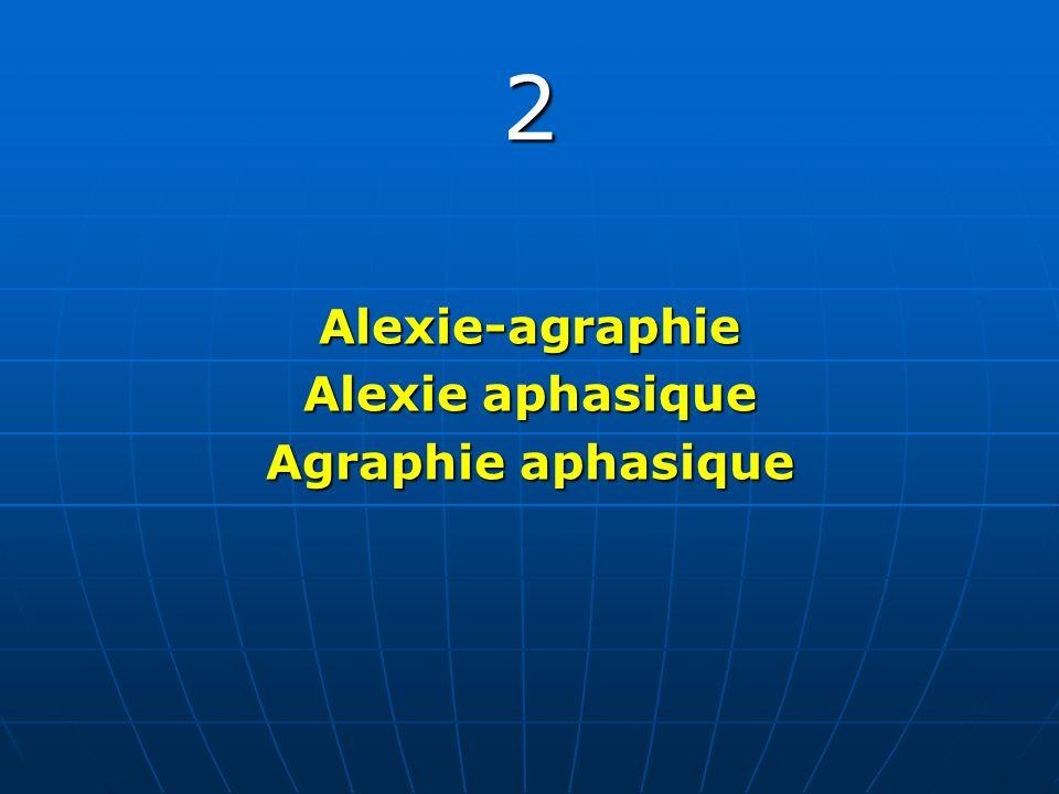 2 Alexie-agraphie Alexie aphasique Agraphie aphasique