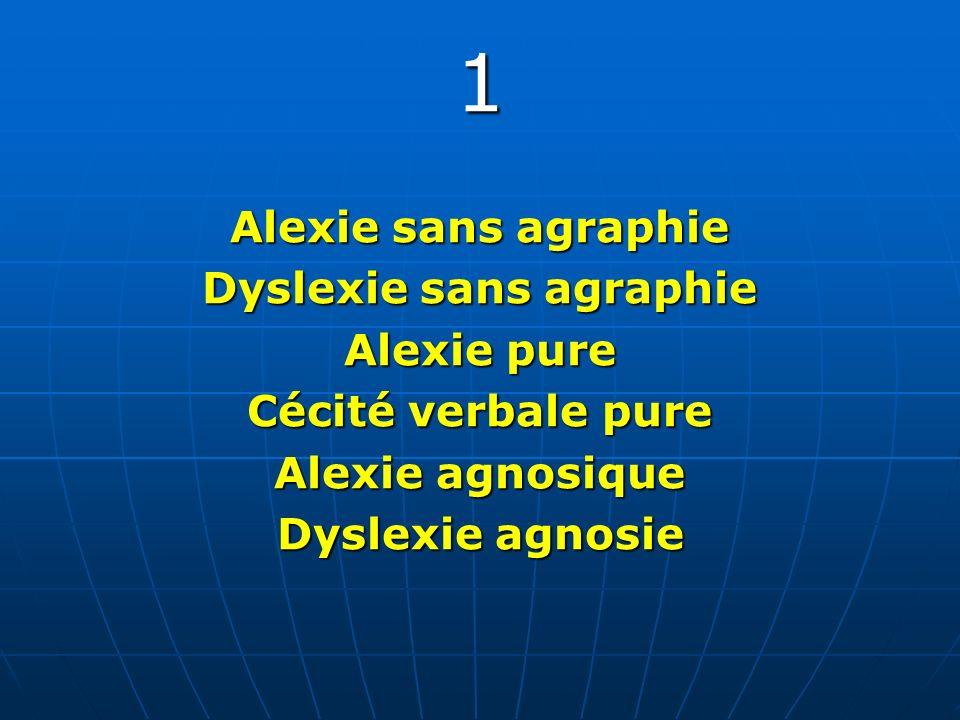 Dyslexie sans agraphie