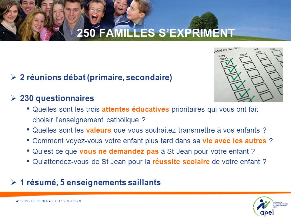 250 FAMILLES S'EXPRIMENT 2 réunions débat (primaire, secondaire)