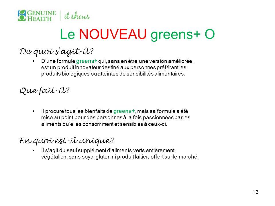 Le NOUVEAU greens+ O De quoi s agit-il Que fait-il