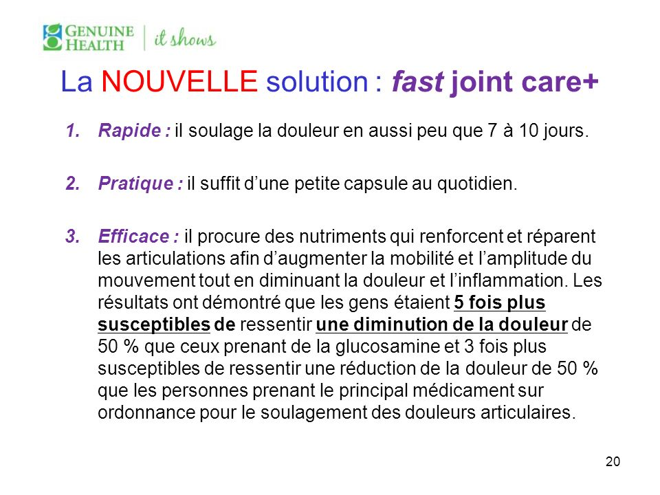 La NOUVELLE solution : fast joint care+