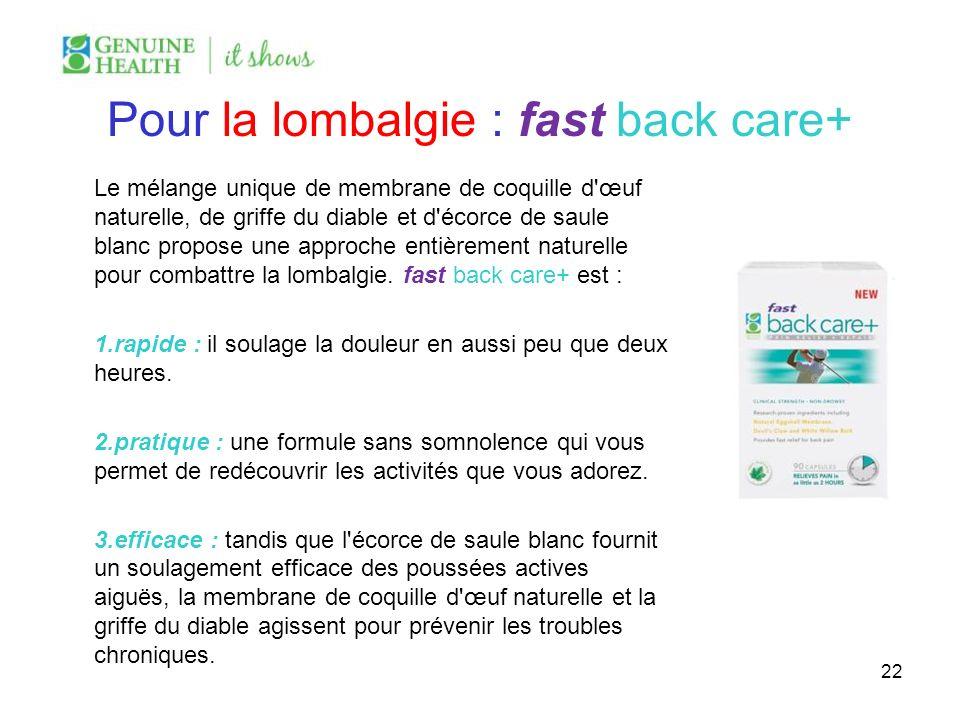 Pour la lombalgie : fast back care+