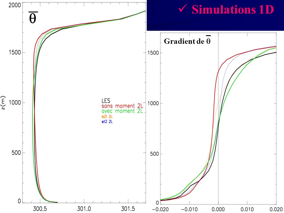Simulations 1D  Gradient de 