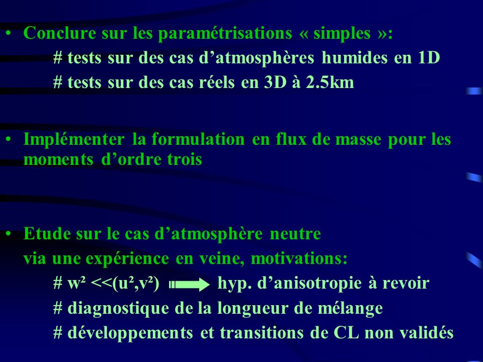 Conclure sur les paramétrisations « simples »: