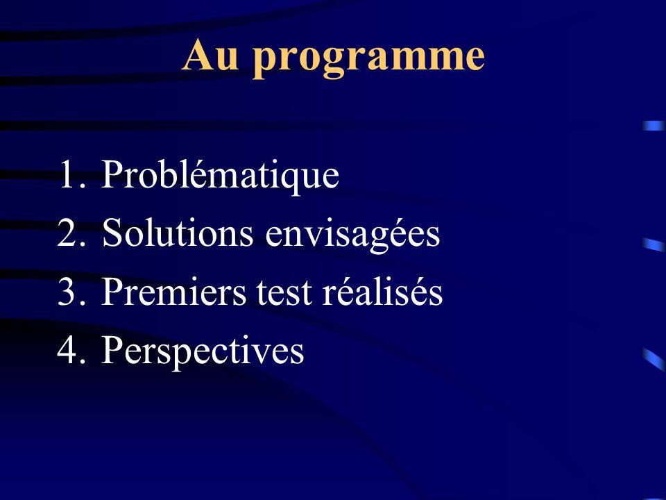 Au programme Problématique Solutions envisagées Premiers test réalisés
