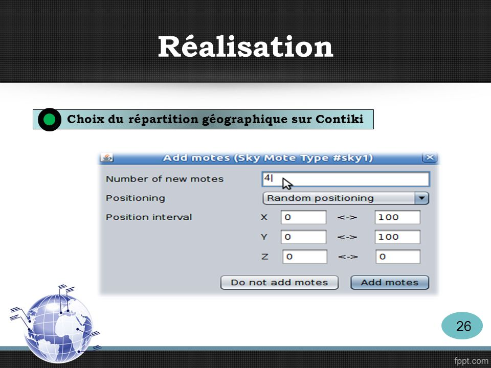 Réalisation Choix du répartition géographique sur Contiki