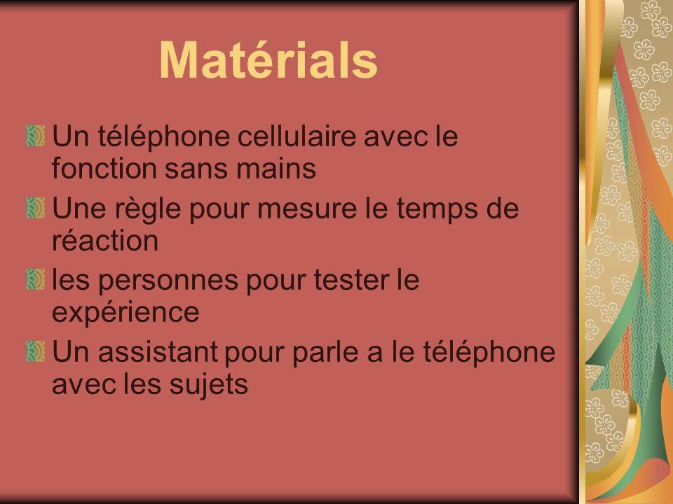 Matérials Un téléphone cellulaire avec le fonction sans mains
