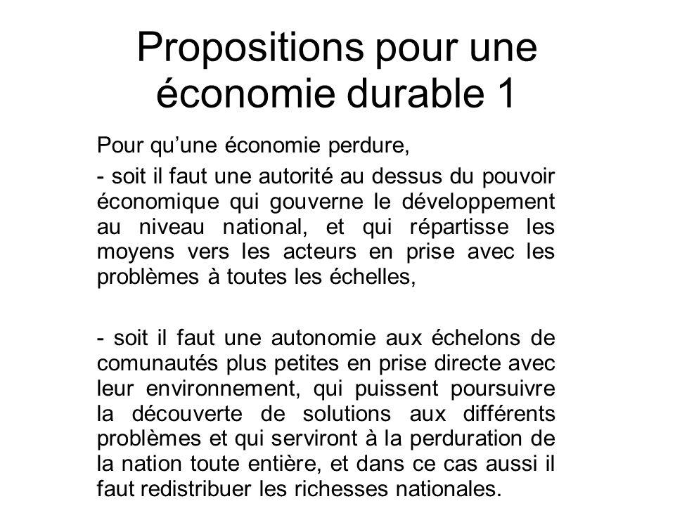 Propositions pour une économie durable 1