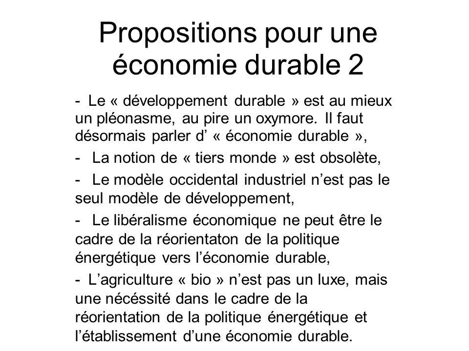 Propositions pour une économie durable 2