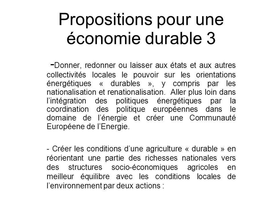 Propositions pour une économie durable 3