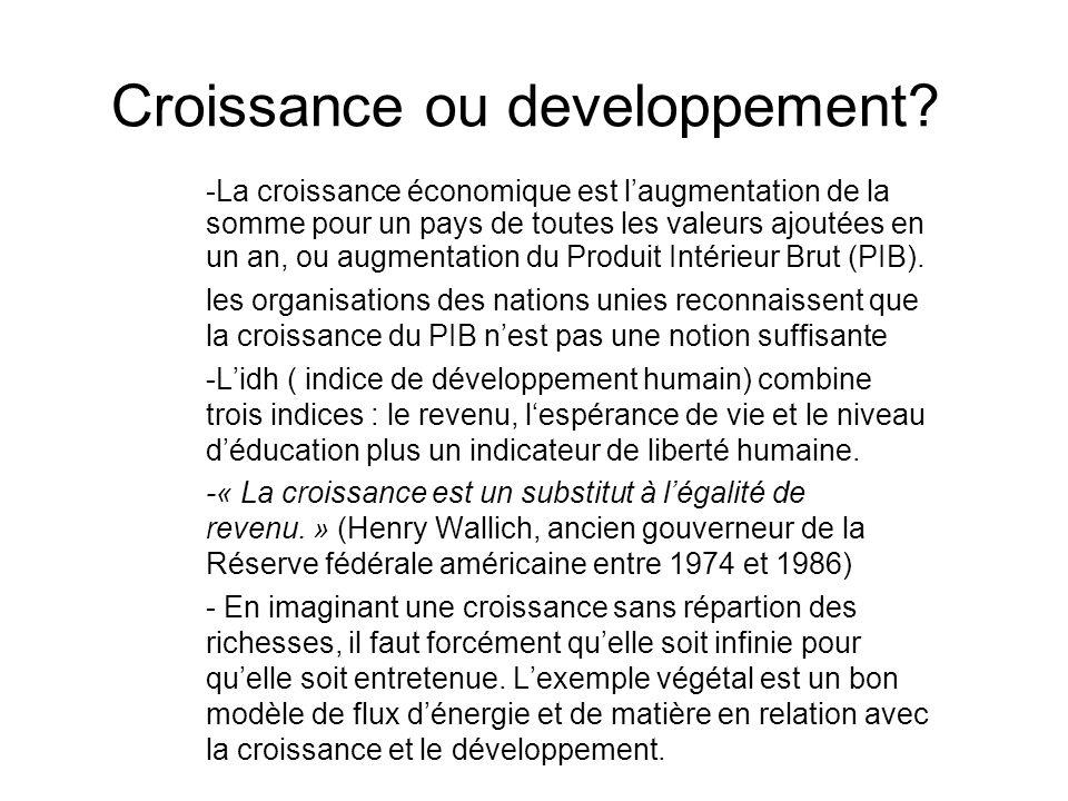 Croissance ou developpement