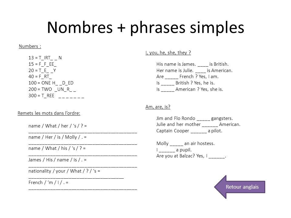 Nombres + phrases simples