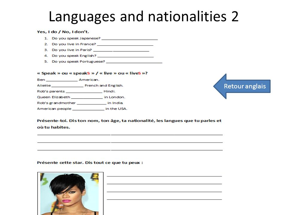 Languages and nationalities 2