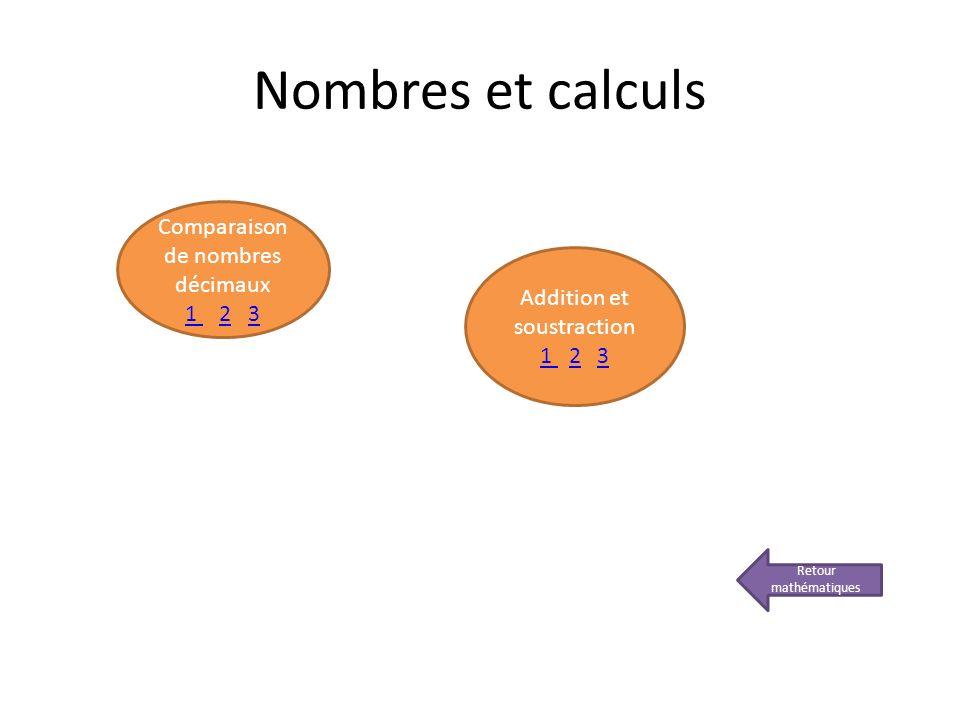 Nombres et calculs Comparaison de nombres décimaux 1 2 3