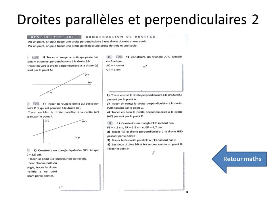 Droites parallèles et perpendiculaires 2