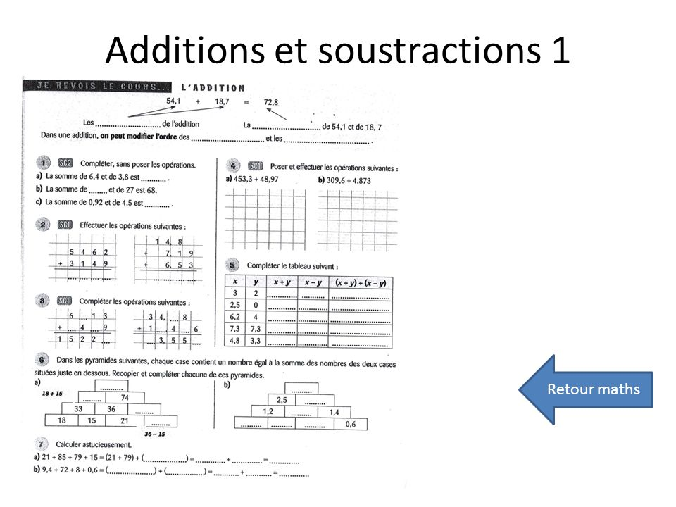 Additions et soustractions 1