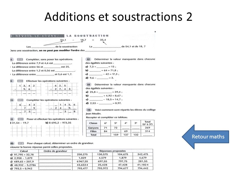 Additions et soustractions 2