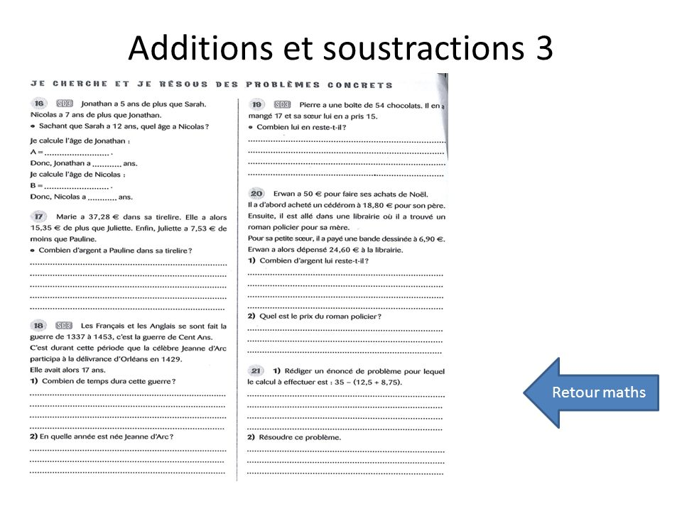 Additions et soustractions 3