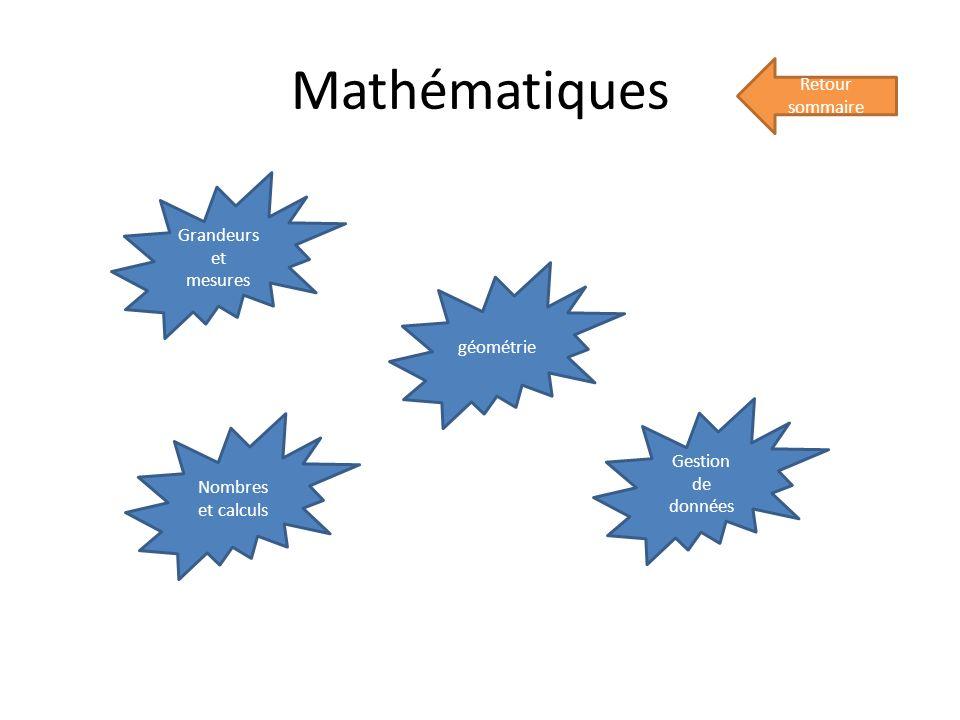 Mathématiques Retour sommaire Grandeurs et mesures géométrie