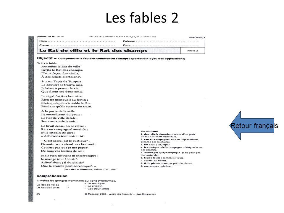 Les fables 2 Retour français
