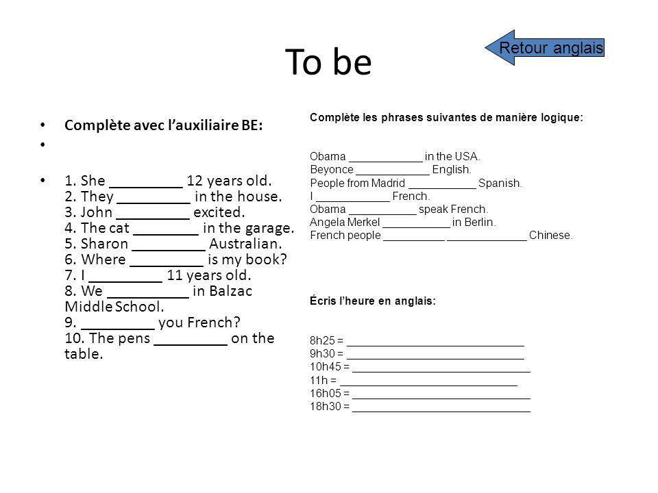 To be Retour anglais Complète avec l'auxiliaire BE: