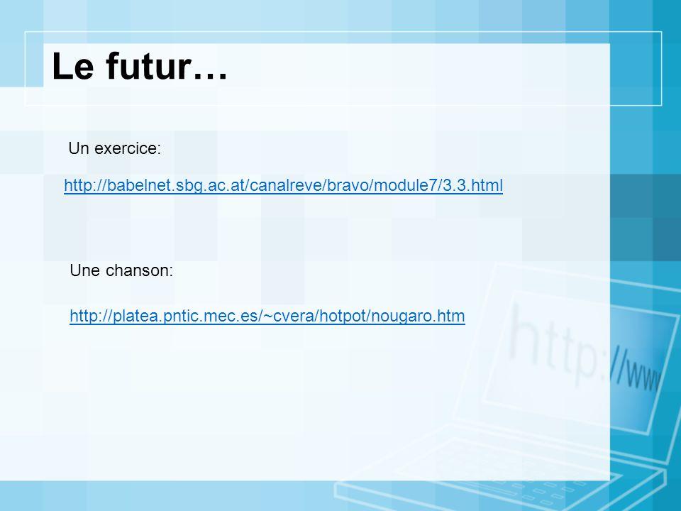 Le futur… Un exercice: http://babelnet.sbg.ac.at/canalreve/bravo/module7/3.3.html. Une chanson: