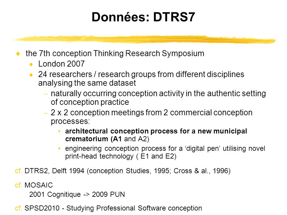Données: DTRS7 the 7th conception Thinking Research Symposium