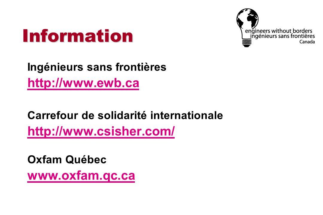 Information http://www.ewb.ca http://www.csisher.com/ www.oxfam.qc.ca