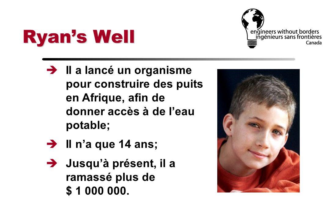 Ryan's Well Il a lancé un organisme pour construire des puits en Afrique, afin de donner accès à de l'eau potable;